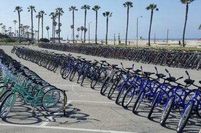 beach cruiser bikes on an la beach